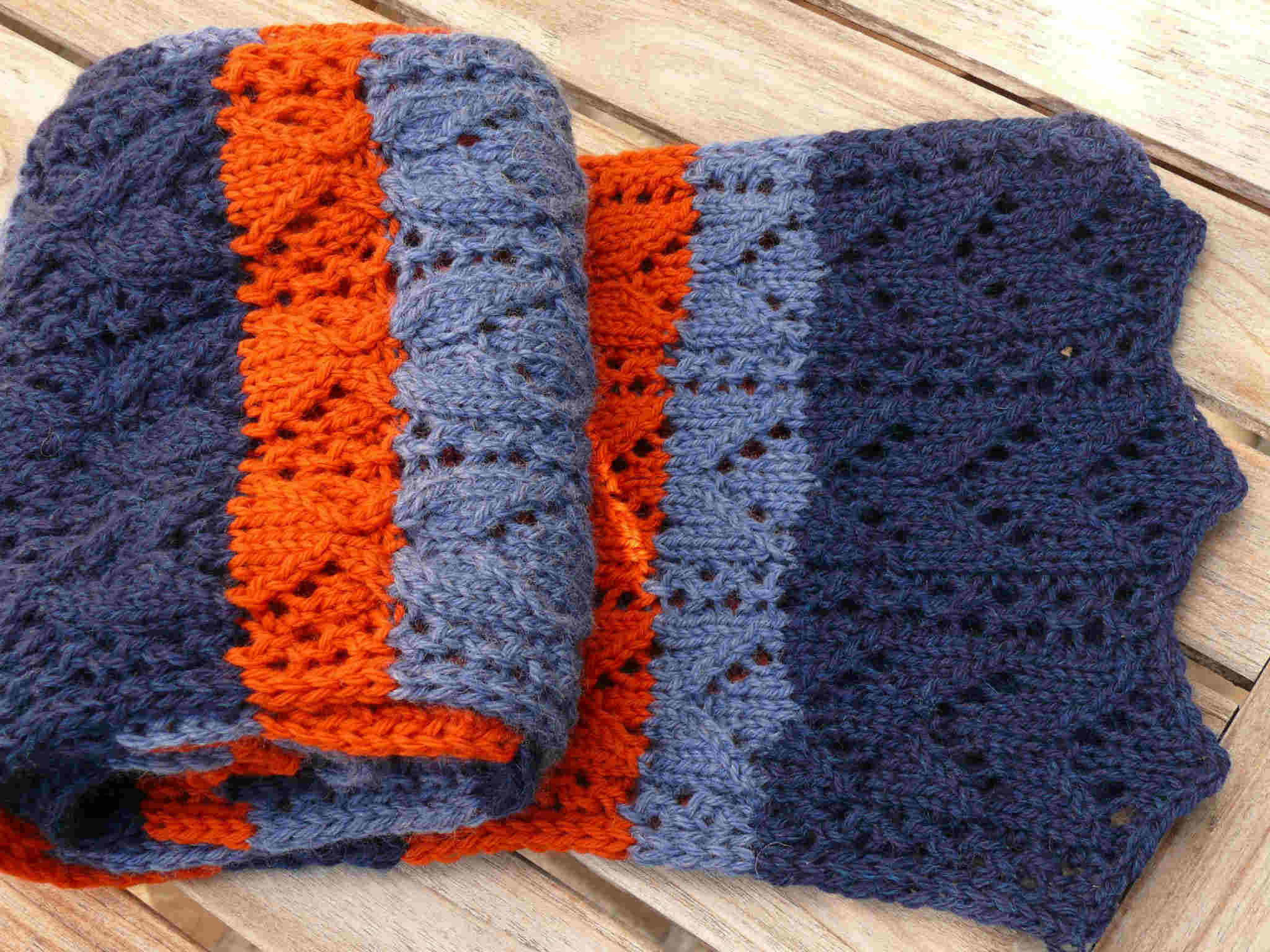 Comment tricoter une charpe ray e en tricot mod le de tricot - Changer de couleur tricot ...